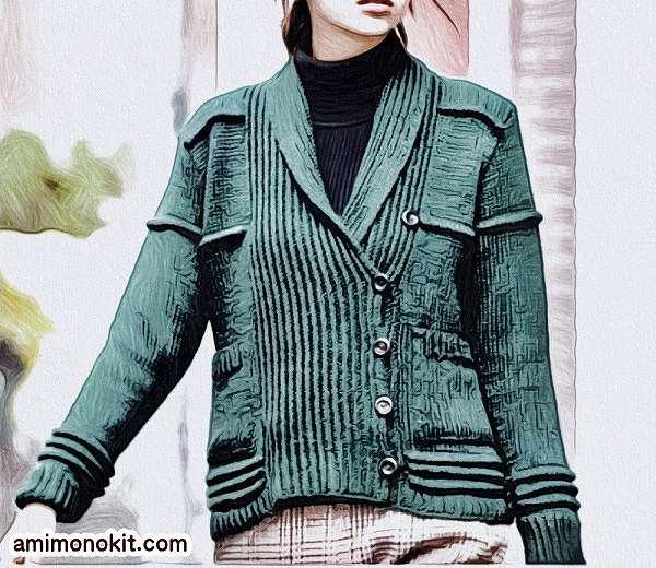 棒針編み無料編み図カーディガンジャケット毛糸ピエロ楽天1