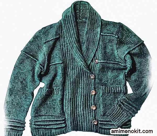 棒針編み無料編み図カーディガンジャケット毛糸ピエロ楽天3