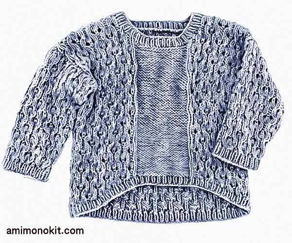 無料編み図zakkaふわふわベーグルドロップショルダーセーター2