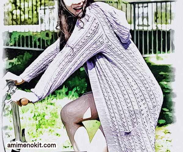 無料編み図毛糸UV棒針編みトッパーカーディガン手編み1