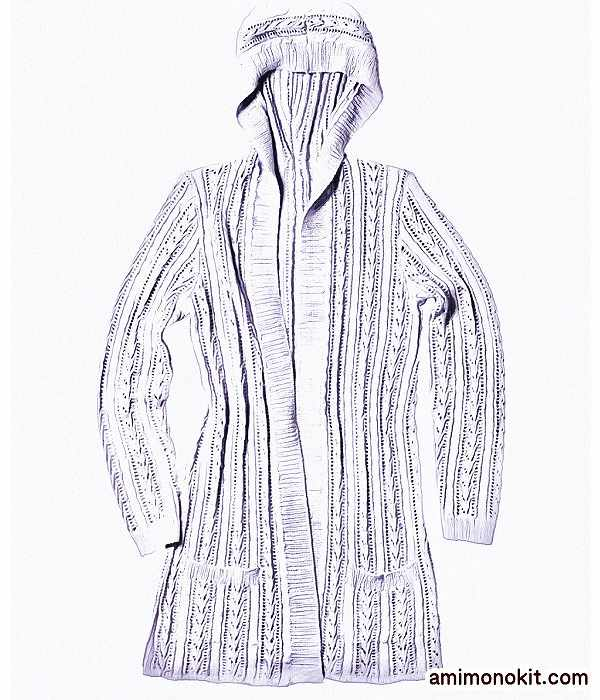 無料編み図毛糸UV棒針編みトッパーカーディガン手編み3