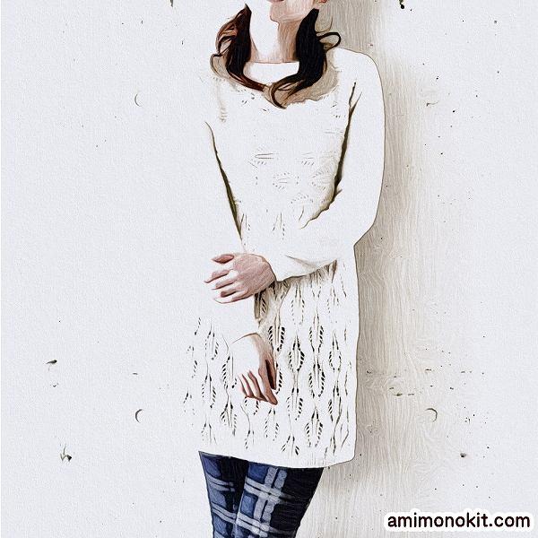 棒針編みワンピース無料編み図毛糸ザッカストアーズ4