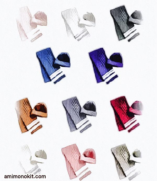 棒針編み初心者さんむけ手編みキット毛糸ピエロ純毛極太マフラーとニット帽のキットセット4