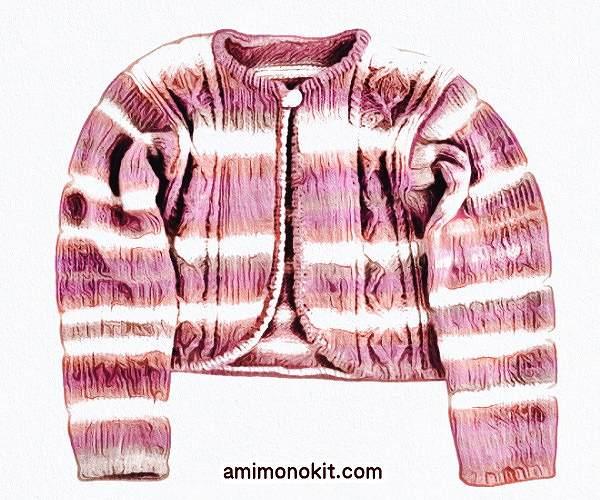 棒針編み無料編み図毛糸ピエロアビーニューカーディガン3