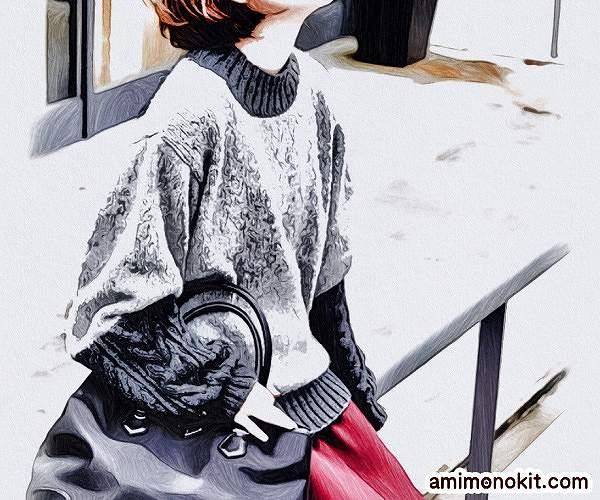 無料編み図プル棒針編み毛糸ピエロニームとソフトメリノ中細切り替えセーター1
