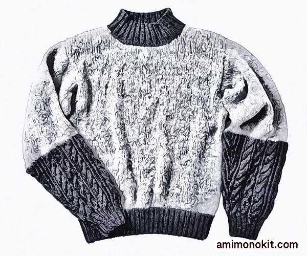 無料編み図プル棒針編み毛糸ピエロニームとソフトメリノ中細切り替えセーター4
