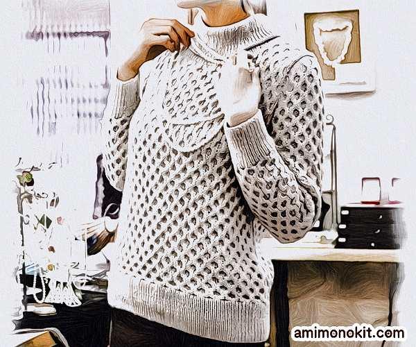 棒針編み無料編み図毛糸ピエロプララナバルファ4plyハニカムセーター1