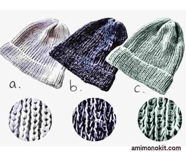 ピエロ棒針編み手編み無料編み図サマーニット帽4