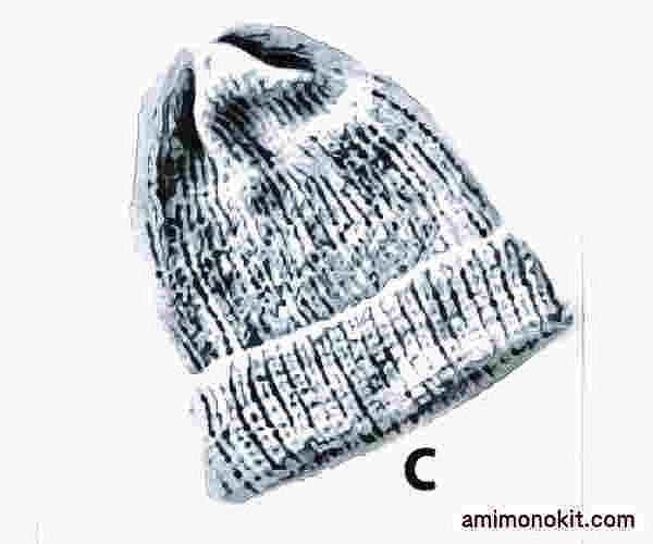 ピエロ棒針編み手編み無料編み図サマーニット帽3
