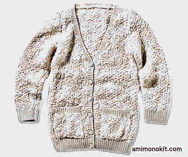 無料編み図棒針編みカーディガンうさぎみたいなふわふわもこもこ3