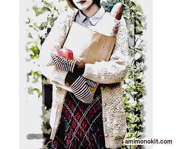 無料編み図棒針編みカーディガンうさぎみたいなふわふわもこもこ4