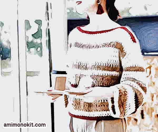 無料編み図レシピ毛糸ピエロソフトメリノかぎ針編みのドロップセーター14