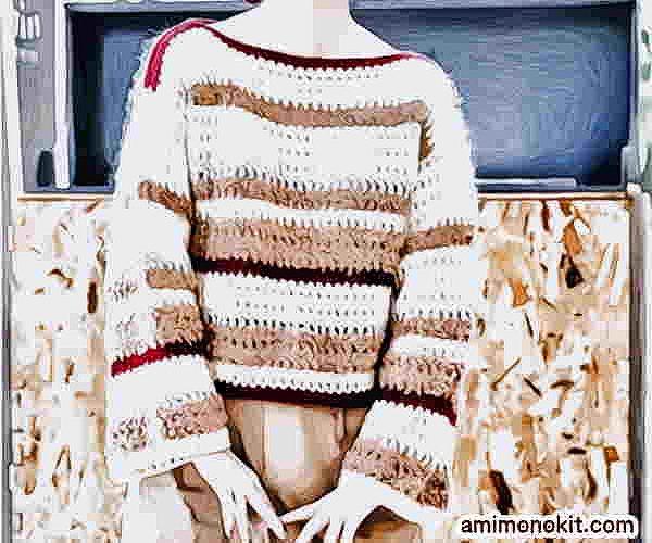 無料編み図レシピ毛糸ピエロソフトメリノかぎ針編みのドロップセーター1