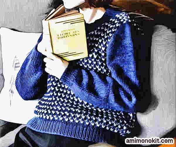 イギリスゴム編み無料編み図棒針編みセーター1