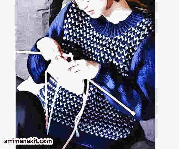 イギリスゴム編み無料編み図棒針編みセーター4