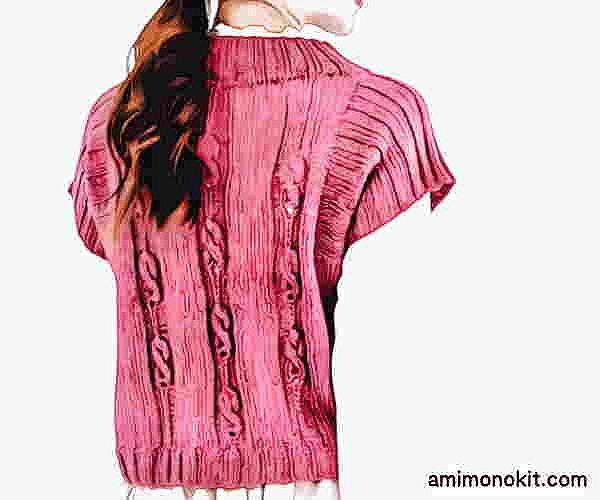 無料編み図棒針編みベスト毛糸ピエロシフォンアルル中細ショート丈プルオーバー2