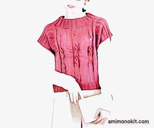 無料編み図棒針編みベスト毛糸ピエロシフォンアルル中細ショート丈プルオーバー4