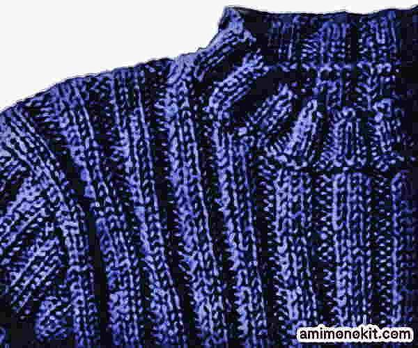 棒針編み無料編み図メンズセーターシンプルハイネック手編み12