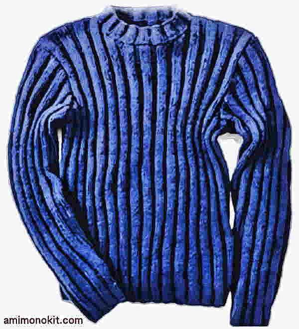 棒針編み無料編み図メンズセーターシンプルハイネック手編み1
