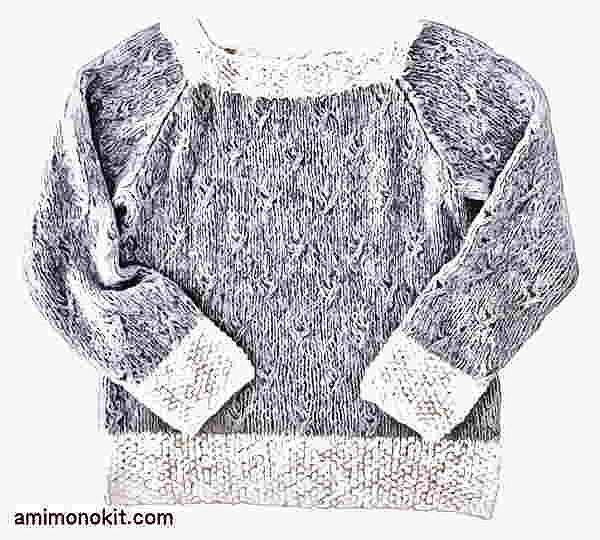棒針編み無料編み図ホイップスラグランスリーブセーター3