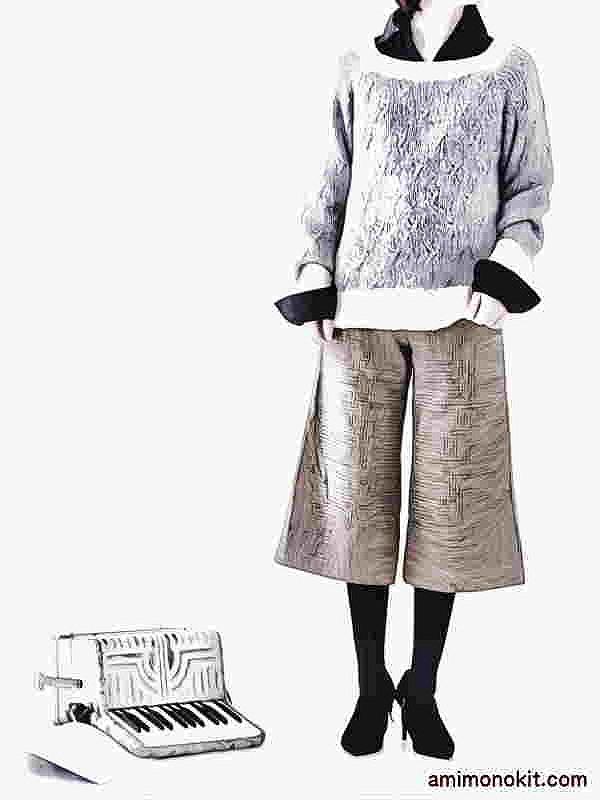 棒針編み無料編み図ホイップスラグランスリーブセーター4
