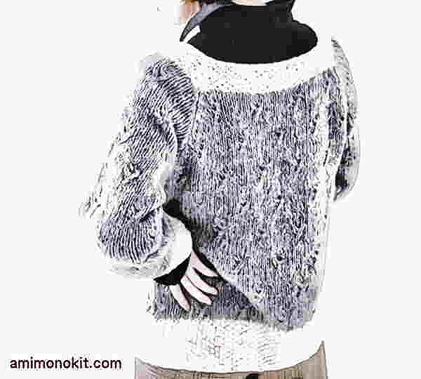 棒針編み無料編み図ホイップスラグランスリーブセーター2