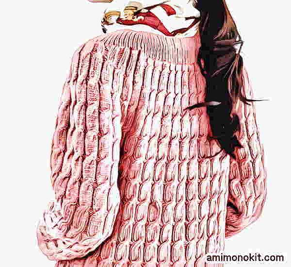 棒針編みアランセーター無料編み図すむーすシルクウールアラン模様のセーター1