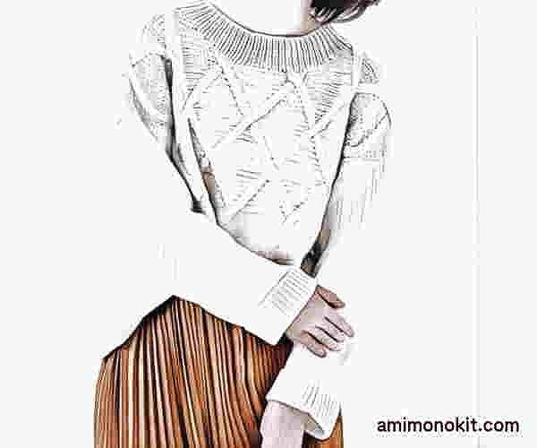 棒針編み無料編み図交差模様のセーター1