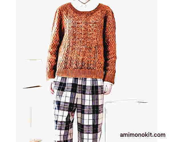棒針編み無料編み図透かし編みのセーターピエロブルーノ4