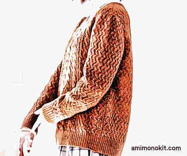 棒針編み無料編み図透かし編みのセーターピエロブルーノ1