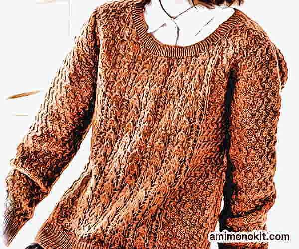 棒針編み無料編み図透かし編みのセーターピエロブルーノ2