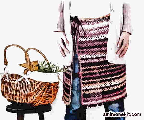 スパイシーブランケット風スカートかぎ針編み無料編み図ケープにもなる1
