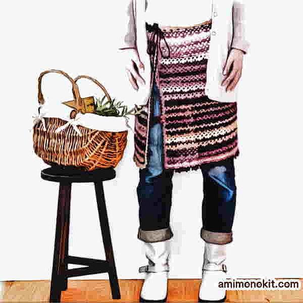 スパイシーブランケット風スカートかぎ針編み無料編み図ケープにもなる3