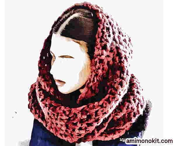 かぎ針編み無料編み図カグールになるスヌード超極太毛糸で1