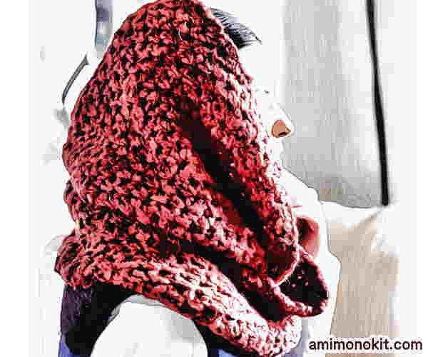 かぎ針編み無料編み図カグールになるスヌード超極太毛糸で2