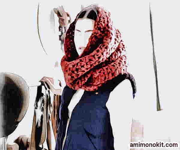 かぎ針編み無料編み図カグールになるスヌード超極太毛糸で4