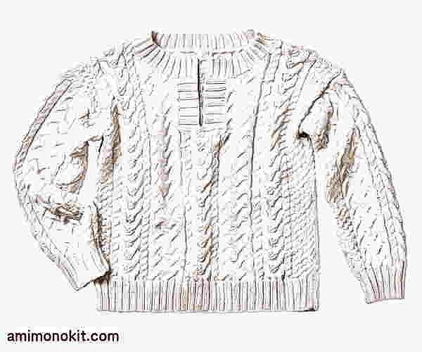 棒針編み無料編み図アラン模様のセーター3