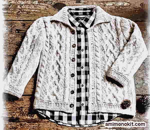 棒針編み無料編み図カーディガンジャケット手編みユニセックス1