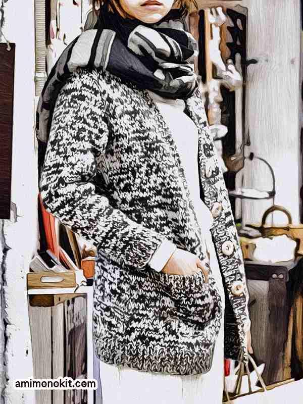 棒針編み無料編み図カーディガン毛糸ピエロ作品214w-02ロングカーディガン1