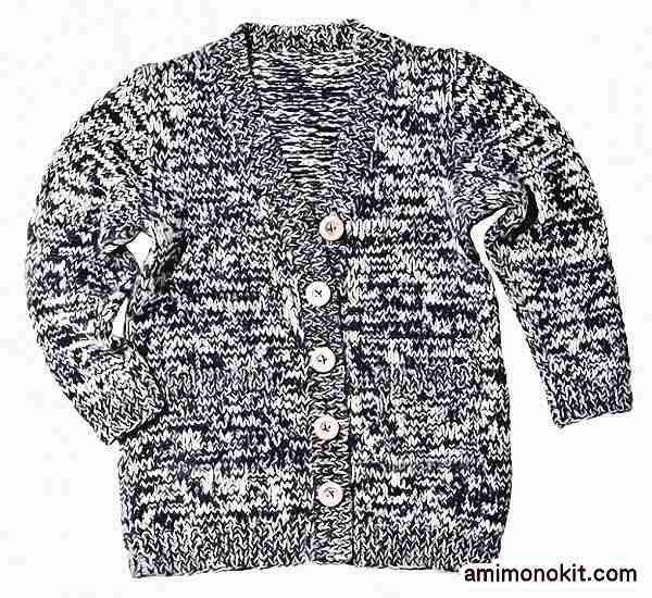 棒針編み無料編み図カーディガン毛糸ピエロ作品214w-02ロングカーディガン3