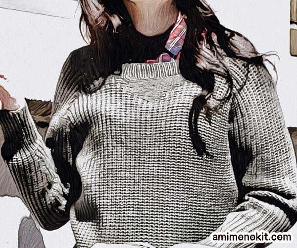 棒針編みプル無料編み図セーター手編みレディースVガゼットニット1
