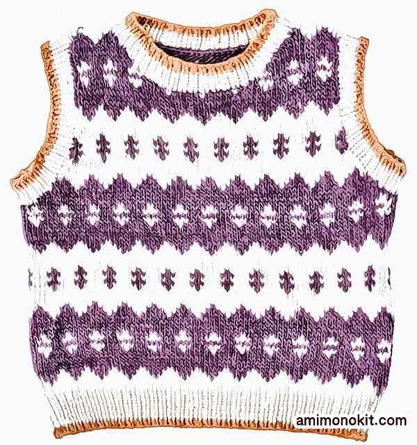 棒針編み込みヘミングベストローバー手編み作品215w-053