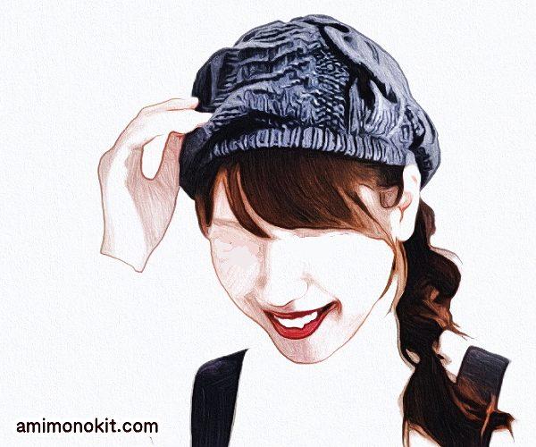 棒針編みで縄編み手編みの1252beretベレー帽ユニセックス4