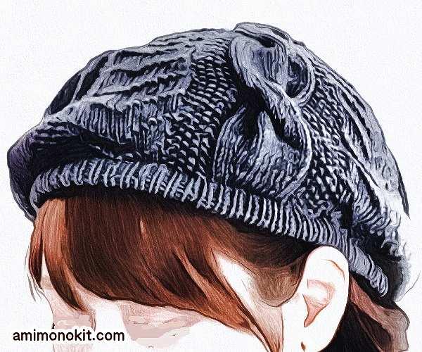 棒針編みで縄編み手編みの1252beretベレー帽ユニセックス1
