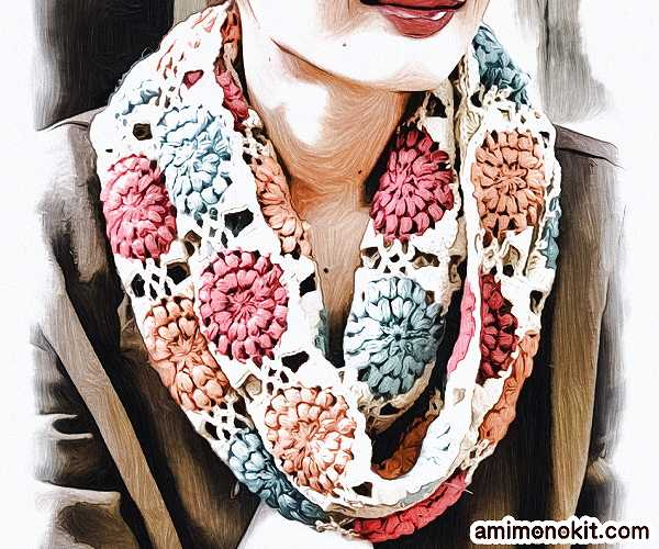 かぎ針編みモチーフスヌードベビーアルパカ手編み無料編み図2