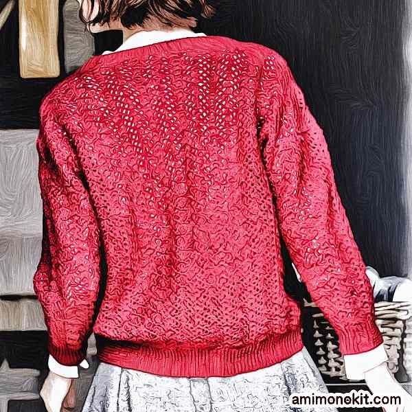 かぎ針編みカーディガン純毛中細七分袖無料編み図1