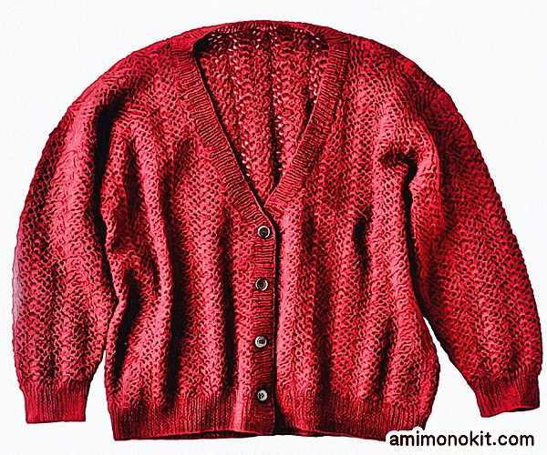 かぎ針編みカーディガン純毛中細七分袖無料編み図3