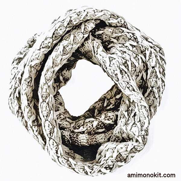 かぎ針編みスヌード中細毛糸グラスカラー無料編み図3