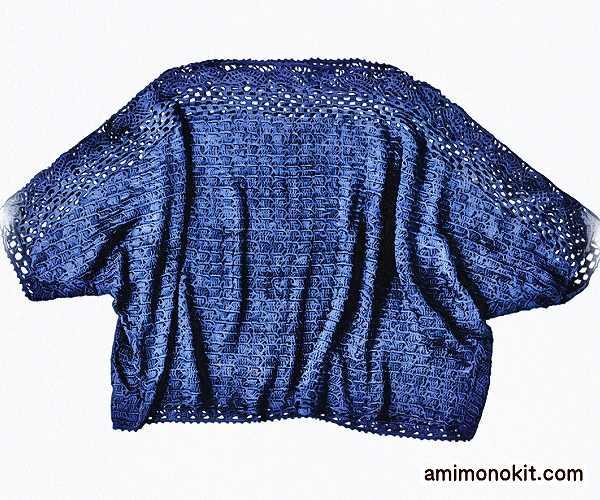かぎ針編みシルクチュニック毛糸ピエロ無料編み図エレガント3