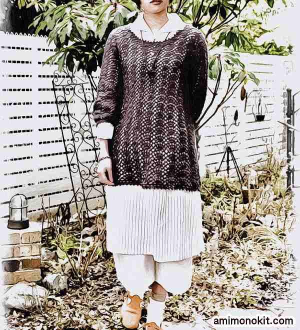 無料編み図綿糸で編む七分袖のチュニック1